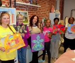 Natalya B. Parris with her students and their art; Art Around Us class at the Gaithersburg Arts Barn on 10/12/2015; 311 Kent Square Road, Gaithersburg, MD 20878