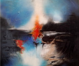 WHEN HEAVEN AND EARTH COLLIDE, Acrylic painting, Canvas, Size: 100 × 100 × 2 cm (unframed)