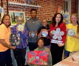 Natalya B. Parris with her students and their art; Art Around Us class at the Gaithersburg Arts Barn on 10/26/2015; 311 Kent Square Road, Gaithersburg, MD 20878
