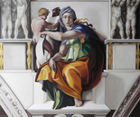 "reproduction of ""Delphic Sibyl"" by Michelangelo Buonarroti"