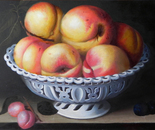 """reproduction of """"Fruit Dish with peaches"""" by Fede Galizia"""