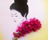"Decorative 3D oil painting ""Geisha`s Tenderness"