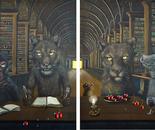 Bildungshunger, Diptychon, Acryl auf Leinwand, 2 x 120 x 100 cm, 2014