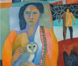 Woman with an owl