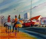 Urburn Market Oil Painting