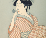 Young Lady Blowing on a Poppin (Work by Kitagawa Utamaro)