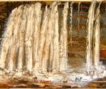 At the Horse Washing Waterfall (after Hokusai)
