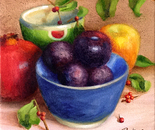 Plums In A Blue Bowl
