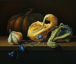 ,,Gourds&morning glory''-oil on canvas-55x40cm