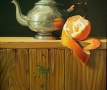 ,,Teapot with orange''-oil on canvas-61x50cm