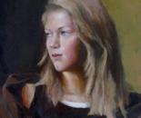 Blond girl study