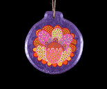 Purple circle wooden painted ornament (Front)