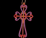 Cross wooden painted ornament (Front)