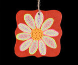 Red, wavy edge, square wooden painted ornament (Back)