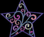 Star wooden painted ornament (Front)