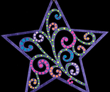 Star wooden painted ornament (Back)
