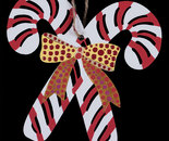 """Candy Cane"" painted wooden ornament (Front)"
