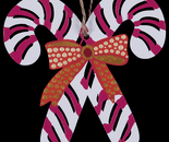 """Candy Cane"" painted wooden ornament (Back)"