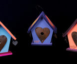 Three Birdhouses wooden painted ornaments