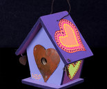 Purple Birdhouse wooden painted ornament