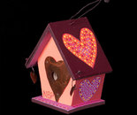 Orange Birdhouse wooden painted ornament