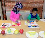 Natalya B. Parris's students at work; Art Explorers class on March 30, 2015 at the Gaithersburg Arts Barn, 311 Kent Square Road, Gaithersburg, Maryland 20878, tel. 301-258-6394