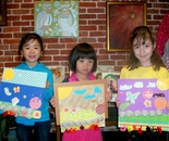 Natalya B. Parris's students with their art at Gaithersburg Arts Barn 301-258-6394