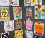 "Artworks created by Natalya B. Parris's students in ""Art Around the World"" camp April 6 – 10, 2015, for students 5 – 9 year old"