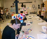 "Natalya B. Parris's students at work in ""Wine with the Masters"" class (Wassily Kandinsky); BlackRock Center for the Arts in Germantown, MD USA on October 17, 2013;12901 Town Commons Dr, Germantown, MD 20874"