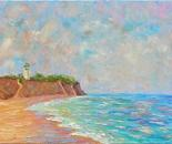 Place near  lighthouse Sanjeika_oil on canva_100x40