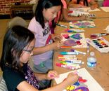 "Students at work on June 16, 2015; ""Exploring The World Through Art"" Arts Barn Camp June 16 - 19, 2015; Instructor Natalya B. Parris"