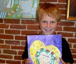 "Student with his artwork on June 16, 2015; ""Exploring The World Through Art"" Arts Barn Camp June 16 - 19, 2015,  Instructor Natalya B. Parris"