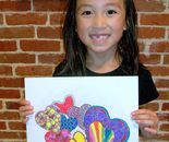 "Natalya B. Parris's student with her artwork; ""Exploring The World Through Art"" Arts Barn Camp June 16 - 19, 2015 from 9am - 3pm, Ages: 7 - 11"