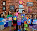 "Instructor Natalya B. Parris with her students on June 18, 2015; ""Exploring The World Through Art"" Arts Barn Camp June 16 - 19, 2015"