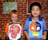"Natalya B. Parris's students with their Day of the Dead - skulls art on June 17, 2015; ""Exploring The World Through Art"" Arts Barn Camp June 16 - 19, 2015"