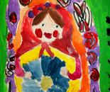 "Matryoshka doll painted by Natalya B. Parris's student on June 18, 2015; ""Exploring The World Through Art"" Arts Barn Camp June 16 - 19, 2015"