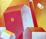 Luce e penombra tra gialli e rossi_cm.30x30