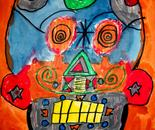 "Day of the Dead - skulls art painted by Natalya B. Parris's student on June 17, 2015; ""Exploring The World Through Art"" Arts Barn Camp June 16 - 19, 2015"