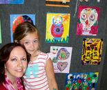 """Ms. Natalya, you are my art sister""; Natalya B. Parris with her student at Art exhibit and reception on June 19, 2015 for ""Exploring The World Through Art"" Arts Barn Camp June 16 - 19, 2015"