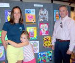 "Natalya B. Parris's student – artist and her family at art exhibit and reception on June 19, 2015 for ""Exploring The World Through Art"" Arts Barn Camp June 16 - 19, 2015"
