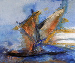 """""""714 Sailing in the storm"""" Format: 220 x 127 x 7 cm in acrylic, plastic mixing technology, 2012"""