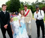 Natalya B. Parris's son Alexander with Cinderella and Prince Charming - DCRC staff at Damascus Day Parade on July 10, 2015