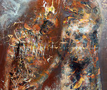 LARGE ONIRIC NIGHT COUPLE IN LOVE PRIMITIVE MARK BIZZARE PERENNIAL RUST ART BY MASTER KLOSKA