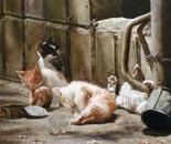 Kittens. Carefree childhood