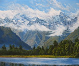 A Clearing Southerly, Mount Tasman and Mount Cook. South Island,  NZ