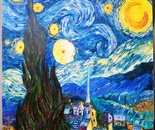 Vincent van Gogh/copy of starry night/ expressionism/ oil paint/ iran/ mohammad ali saeidpanah