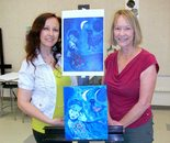 "Natalya B. Parris with her student; ""Wine with the Masters"" class featuring artist Marc Chagall and artwork Blue Landscape on 9/25/2015 at BlackRock Center for the Arts"