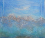 Summer's blue haze, acrylic 40 cmH/40 cmW, 2 cm. Blue haze rising up to the high peaks on a very hot summer day