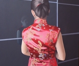 Qipao in seta rossa