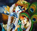 Immoratal Love of Radha Krishna- Acrylic on Canvas